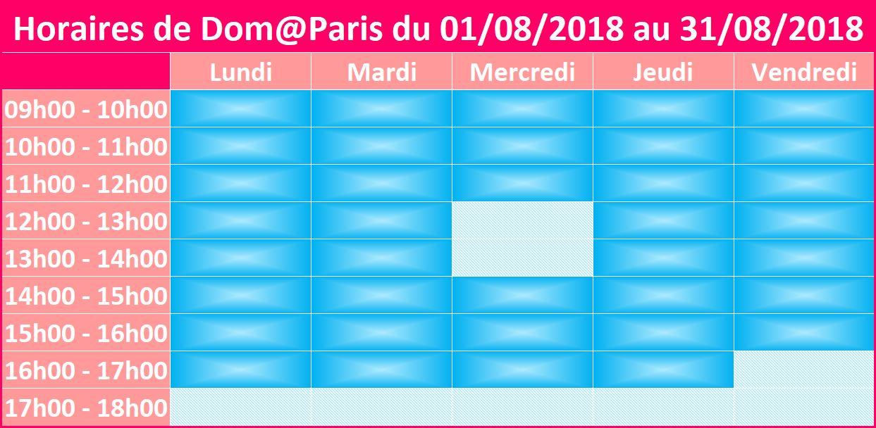 horaires d'été Domaparis